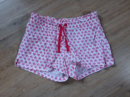 Shorts Schlafhose weiß rosa Herzen Queentex