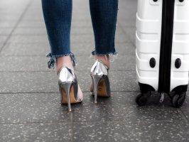 Silber glänzende High Heels - 1 x getragen
