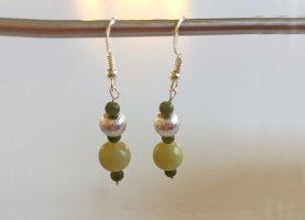 Silber Ohrringe mit Peridot und Jade