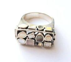 Silber Ring kleinen Perlmutt-Plättchen - exklusiv - Gr 63 NEU