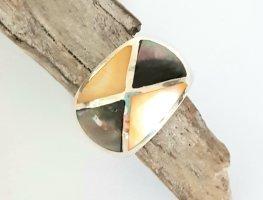 Silber Ring - Perlmutt 2-farbig - Gr 58 NEU - 925er Sterlingsilbe