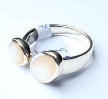 Silber Ring - Perlmutt 2er - Gr 58 - NEU - 925er Sterlingsilber
