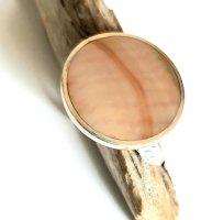 Silber Ring - Perlmutt beige Rund - Gr 55-60 NEU - 925er Sterlingsilber