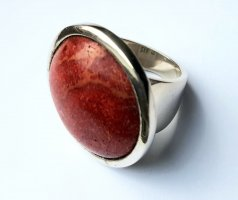 Silber Ring - rund - Rote Koralle - Gr 60 NEU - 925er Sterlingsilber