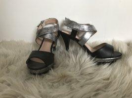 Silber-schwarze High Heels