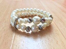 Bransoletki z perłami biały-srebrny
