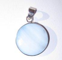Silberanhänger Perlmutt Blauschimmer - 925er - Neu