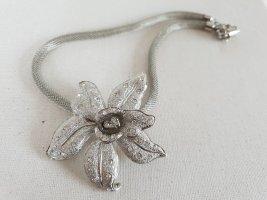 Silberfarbene Blumen Kette Halsschmuck Halskette Schmuck