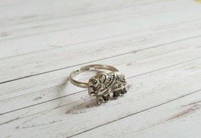 silberfarbener Boho Ring mit Elefanten NEU und größenverstellbar
