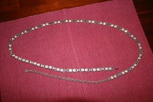 Cinturón de cadena color plata-blanco