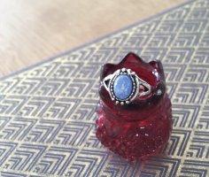 Bague en argent argenté-bleu azur