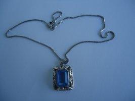 Pendant silver-colored-neon blue