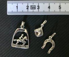 Silberne Anhänger Reiter, Hufeisen, Pferdekopf (3er Set)