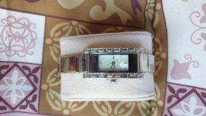 Silberne DAU eckig weißes Ziffernblatt 17 cm STRASS ungetragen foliert