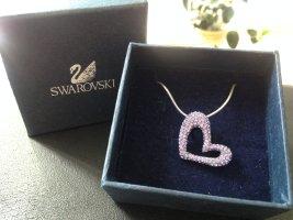 Silberne Kette mit lila Herzanhänger von Swarovski (?)