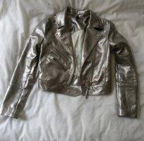 Silberne Metallic Bikerjacke Lederjacke
