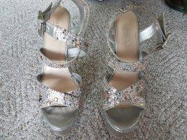 Carvela Platform High-Heeled Sandal silver-colored leather
