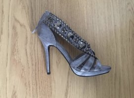 silberne Sandalette mit Pailetten/ Steinchen