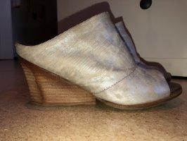A.S.98 Sandalo con tacco alto e lacci a T argento-marrone chiaro