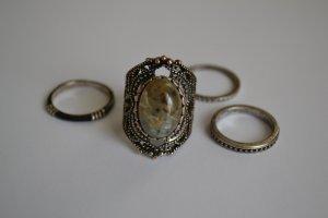 Silberne Statement Ringe Vintage Boho Größe L