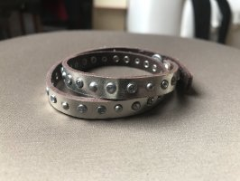 Abercrombie & Fitch Lederen armband zilver