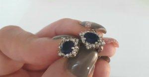 Silberohrringe mit blauen & weißen Steinen