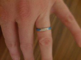 Pierścionek srebrny-niebieski