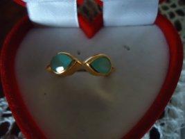 Silberring vergoldet Aqua Onyx