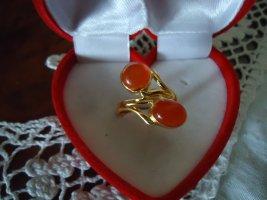Silberring vergoldet Karneol