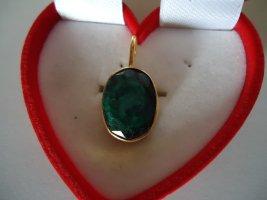 Silneranhänger vergoldet Smaragd