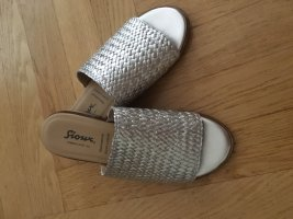 Sioux Heel Pantolettes silver-colored leather