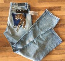 Sisley Benetton Jeans Gr.36 Regular Fit hellblau mit Tiger Neu