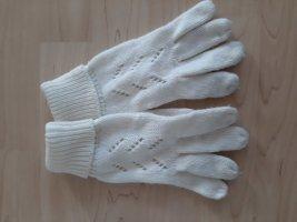 Six Strick Handschuhe mit Lochmuster wollweiß cremeweiß