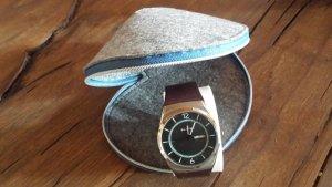 Skagen Reloj con pulsera de cuero multicolor