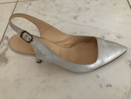 Prego Slingback Pumps silver-colored leather