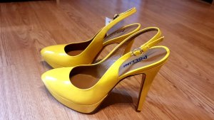 Pollini Escarpin à bride arrière jaune primevère cuir