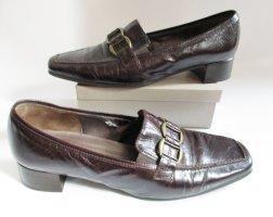 Slipper Gabor Größe 7,5 41 Antik Leder Dunkel Braun Patina Schuhe Loafer Pumps Eckig Business Elegant