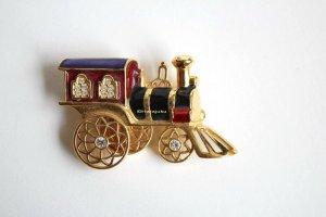 Smithsonion Xmas Weihnachtsbrosche Emaille Brosche exclusiv Lokomotive Dampflok Weihnachten