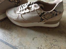 Zara Sneakers met hak licht beige-grijs-bruin Katoen