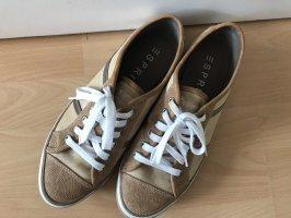 Sneaker Esprit Größe 40 Schnürschuhe beige braun weiß