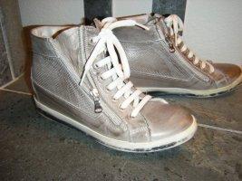 Basket montante gris brun cuir