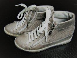 Zapatillas altas marrón grisáceo-blanco puro Cuero