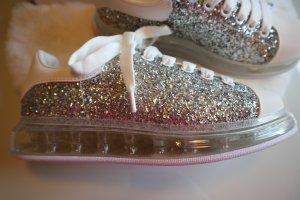 Sneaker in Silber Glitzer & Weiß coole transparente Sohle NEU im orig. Karton