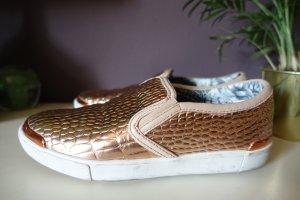 Sneaker, Keziah Slip Ons, Ted Baker, Turnschuhe, glänzend, Kroko, Snake, Schlangenoptik, rosegold