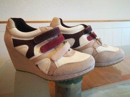 Sneaker mit Keilabsatz Gr. 40, creme, beige, rot weinrot