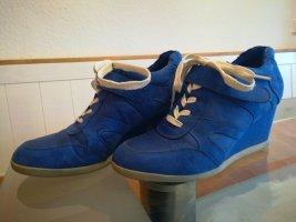 Sneaker mit Keilabsatz Gr. 41 blau weiß