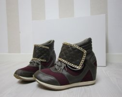 Wedge Sneaker grey brown-gold-colored