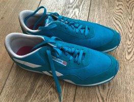 Sneakers Velour Leder türkis weiß Gr 42,5 / 42 41,5