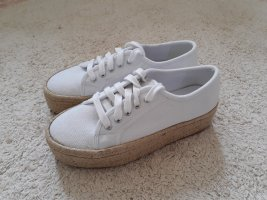 Sneakers met hak wit-licht beige