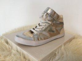 Sneaker con strappi argento-bianco
